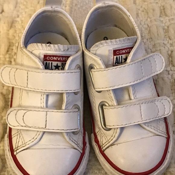 infant white velcro converse
